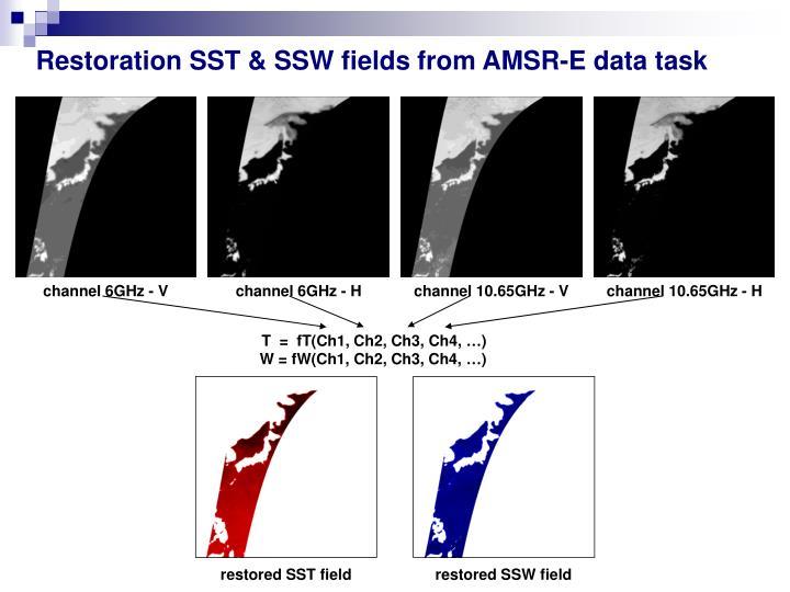 Restoration SST & SSW fields from AMSR-E data task