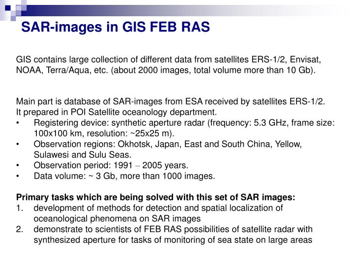SAR-images in GIS FEB RAS