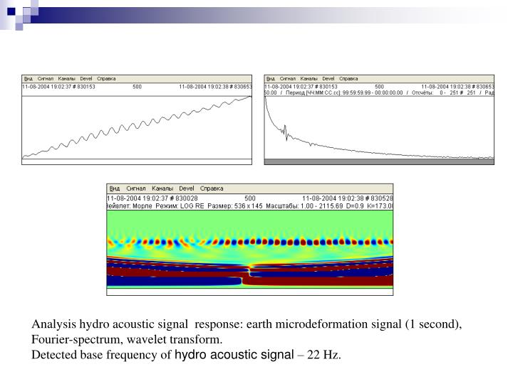 Analysis hydro acoustic signal  response