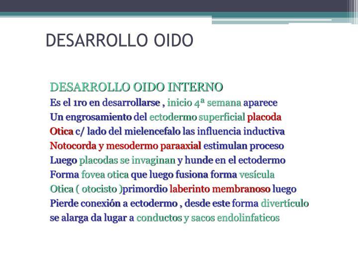 DESARROLLO OIDO
