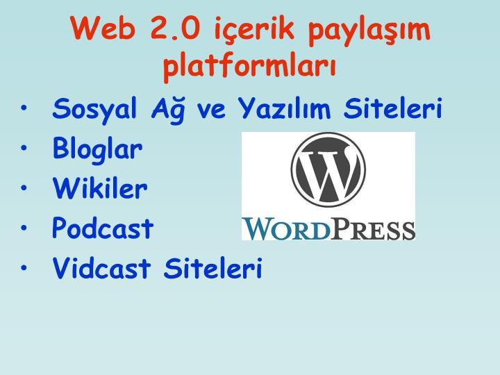 Web 2.0 içerik paylaşım platformları