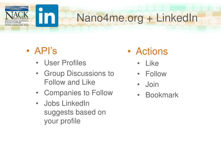 Nano4me.org + LinkedIn