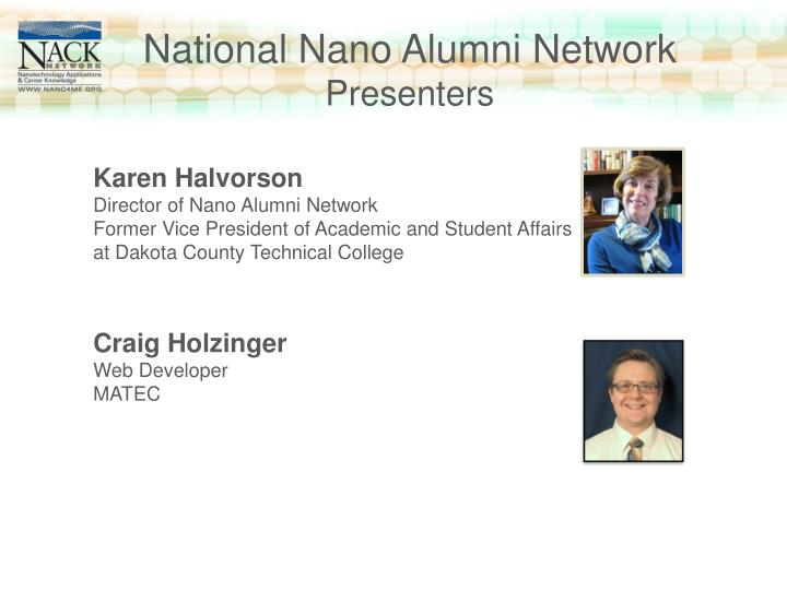 National nano alumni network presenters