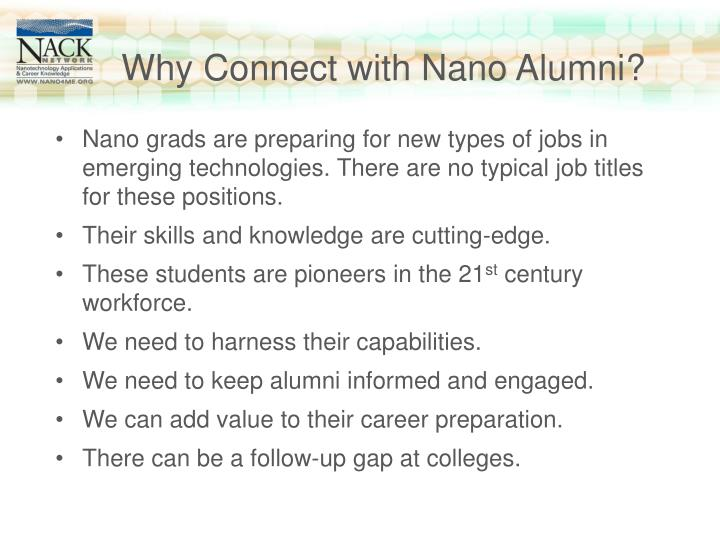 Why Connect with Nano Alumni?