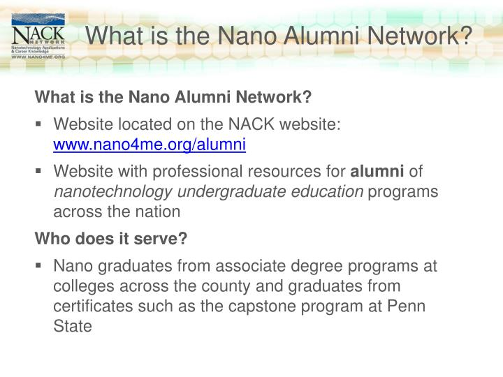 What is the Nano Alumni Network?