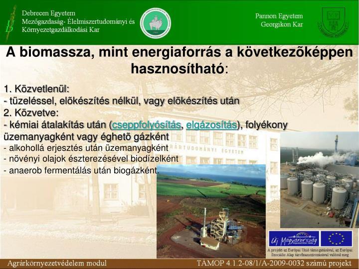 A biomassza, mint energiaforrás a következõképpen hasznosítható