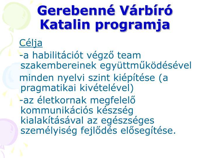 Gerebenné Várbíró Katalin programja