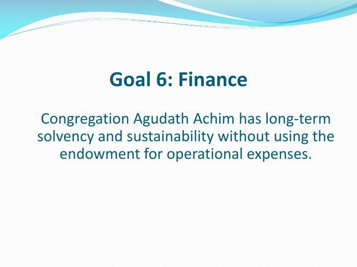 Goal 6: Finance