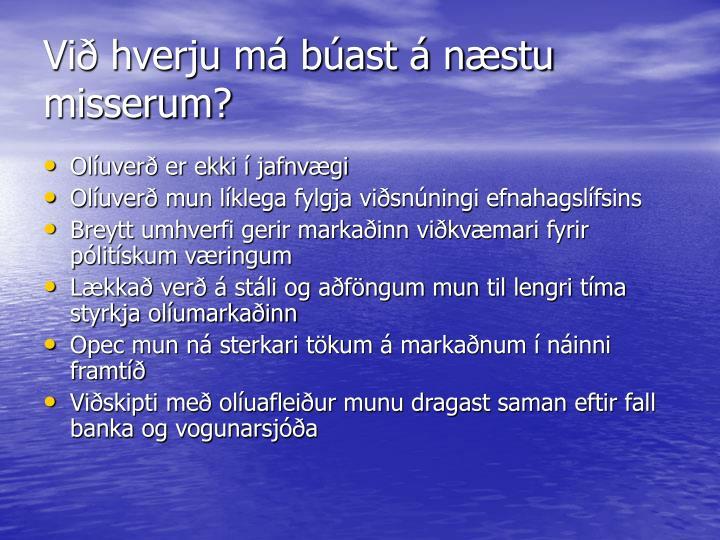 Við hverju má búast á næstu misserum?
