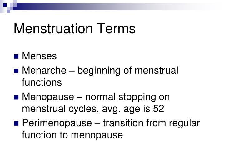 Menstruation Terms
