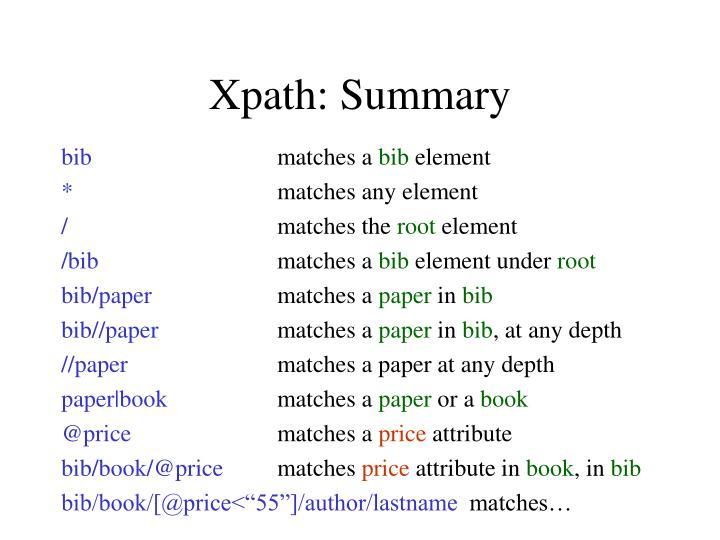 Xpath: Summary