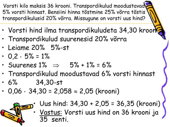 Vorsti kilo maksis 36 krooni. Transpordikulud moodustavad 5% vorsti hinnast. Bensiini hinna tõstmine 25% võrra tõstis transpordikulusid 20% võrra. Missugune on vorsti uus hind?