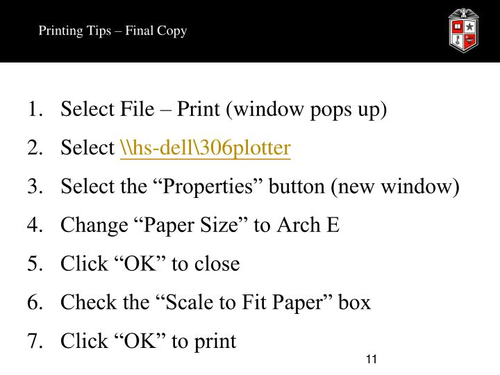 Printing Tips – Final Copy