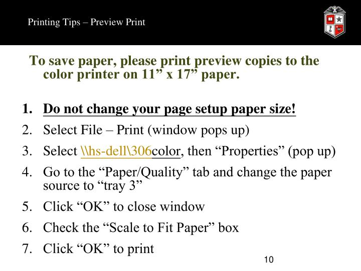 Printing Tips – Preview Print