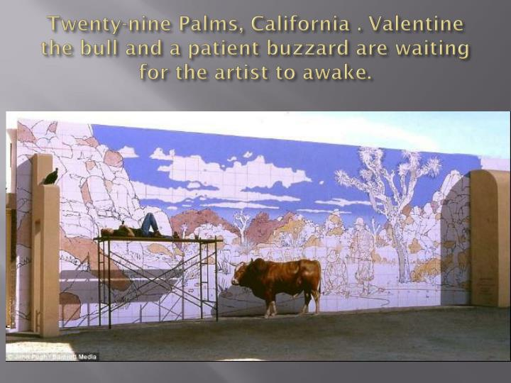 Twenty-nine Palms, California . Valentine the bull and a patient buzzard are waiting for the artist to awake.