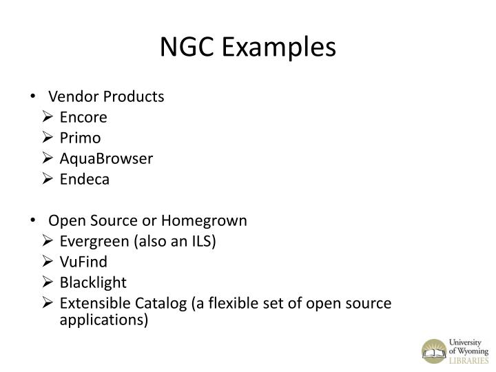 NGC Examples