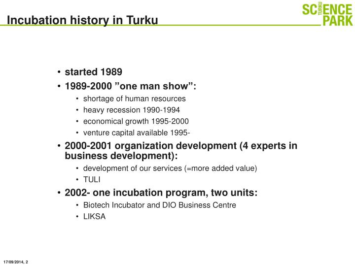 Incubation history in Turku