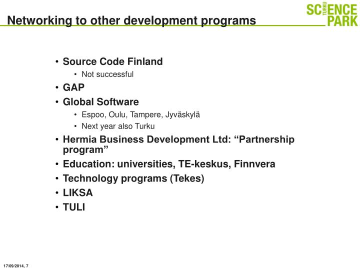 Networking to other development programs