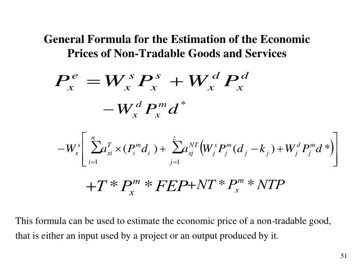 General Formula for the Estimation of the Economic Prices of Non-Tradable Goods and Services
