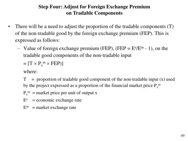 Step Four: Adjust for Foreign Exchange Premium