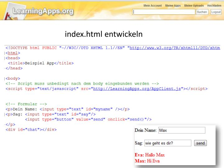 index.html entwickeln