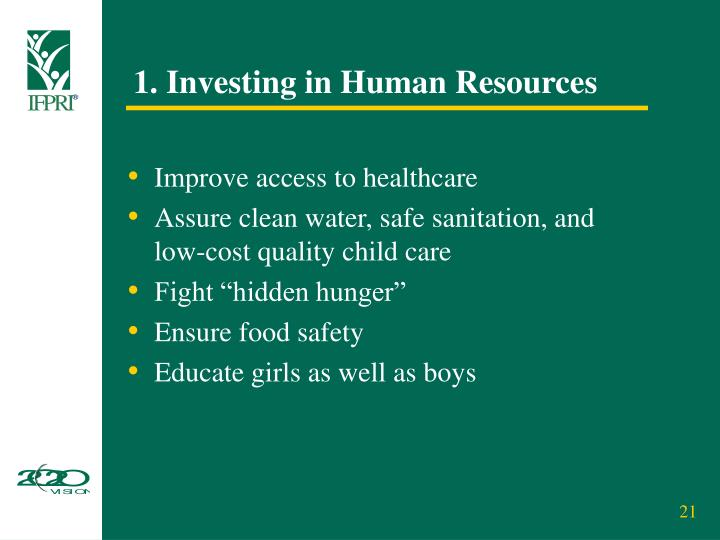 1. Investing in Human Resources
