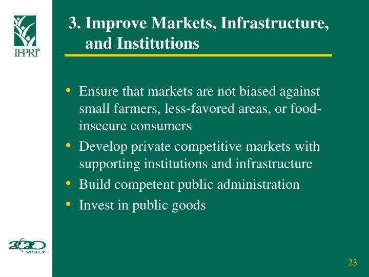 3. Improve Markets, Infrastructure,