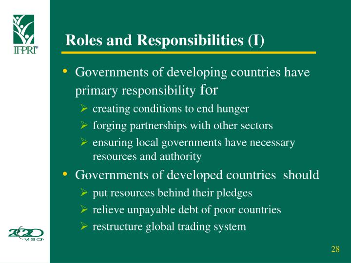 Roles and Responsibilities (I)