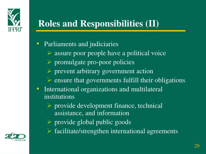 Roles and Responsibilities (II)