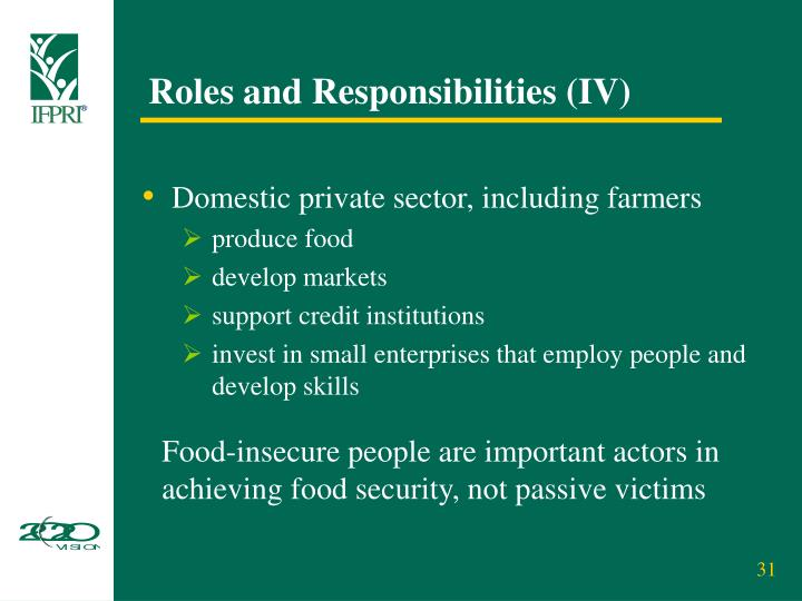 Roles and Responsibilities (IV)