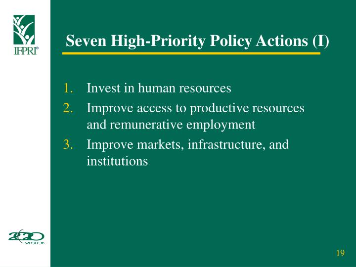 Seven High-Priority Policy Actions (I)