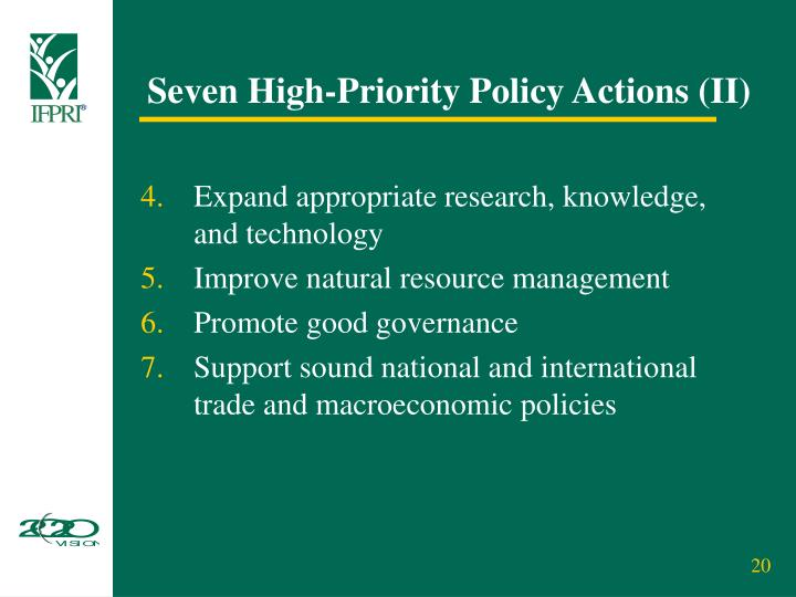 Seven High-Priority Policy Actions (II)