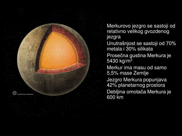 Merkurovo jezgro se sastoji od relativno velikog gvozdenog jezgra