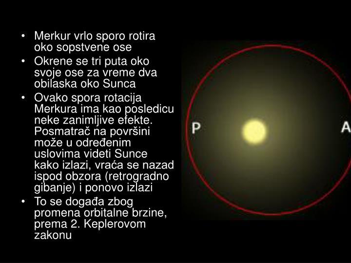 Merkur vrlo sporo rotira oko sopstvene ose
