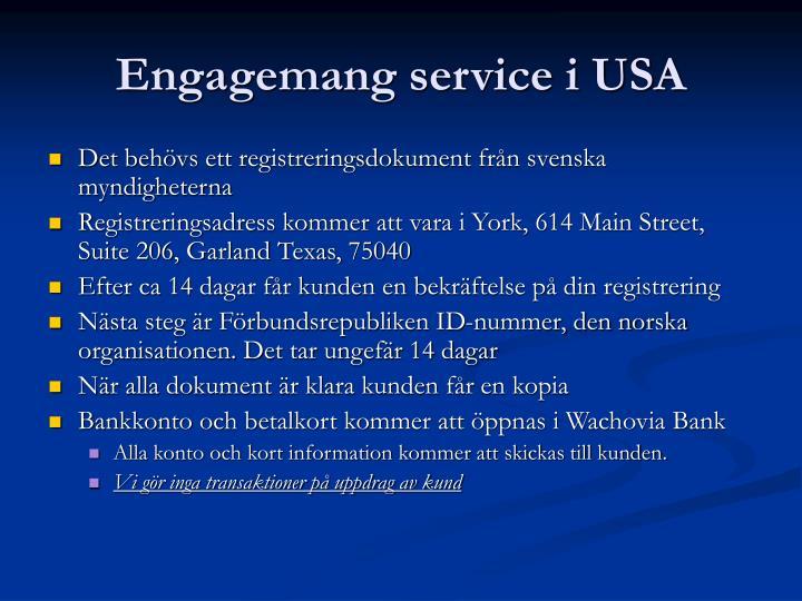 Engagemang service i USA