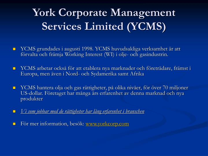York corporate management services limited ycms