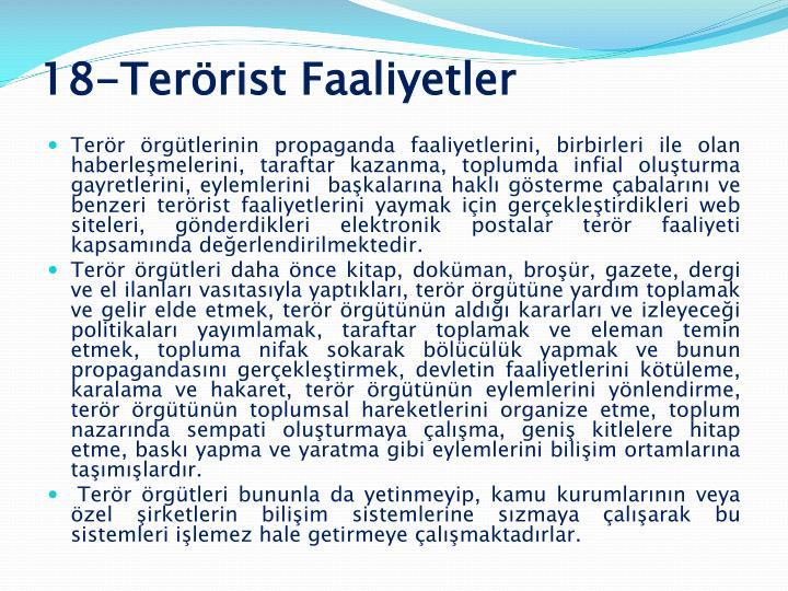18-Terörist Faaliyetler