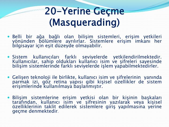 20-Yerine Geçme (Masquerading)