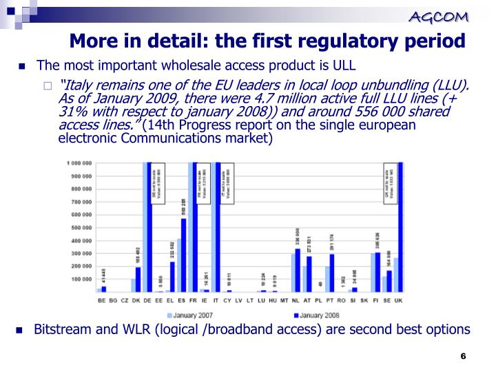 More in detail: the first regulatory period