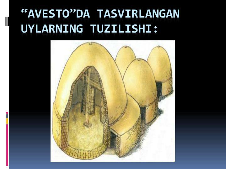 """""""AVESTO""""da tasvirlangan uylarning tuzilishi:"""