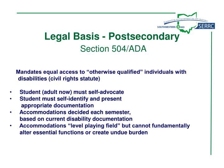 Legal Basis - Postsecondary