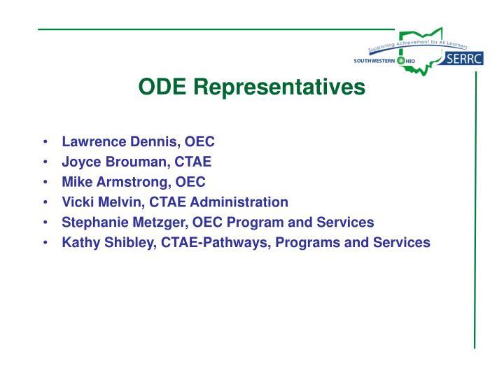 ODE Representatives