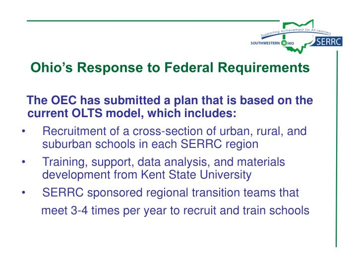 Ohio's Response to Federal Requirements