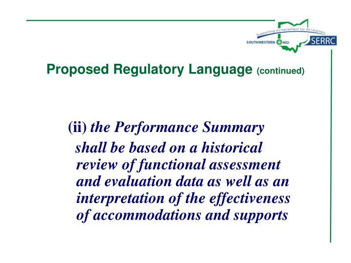 Proposed Regulatory Language