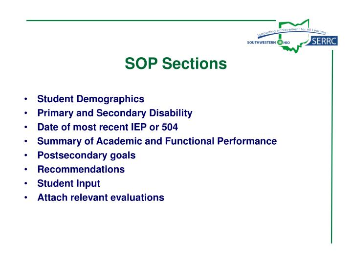 SOP Sections