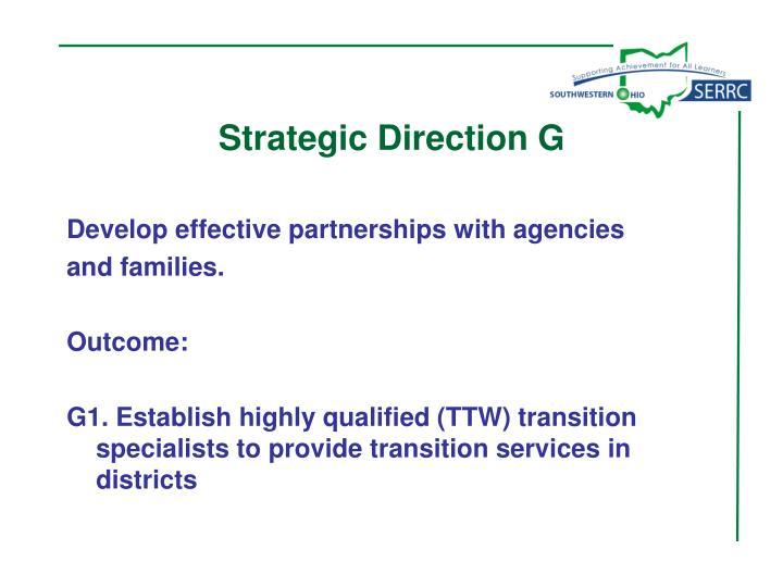 Strategic Direction G