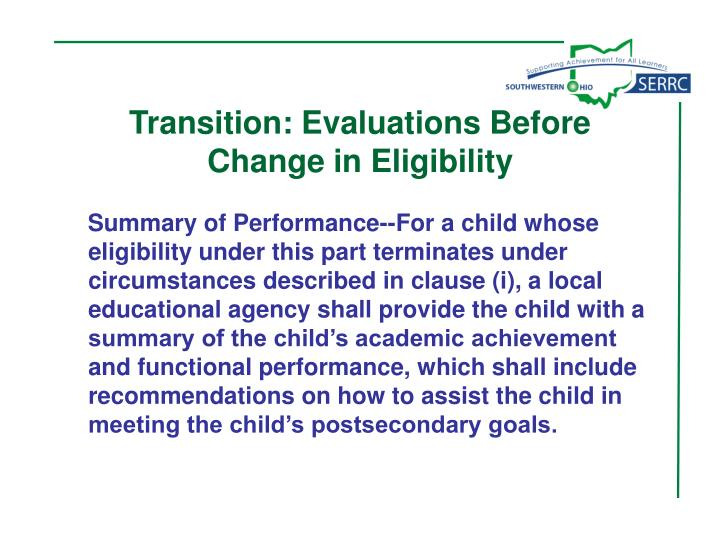 Transition: Evaluations Before
