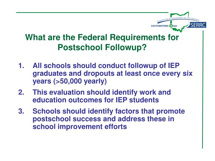 What are the Federal Requirements for Postschool Followup?