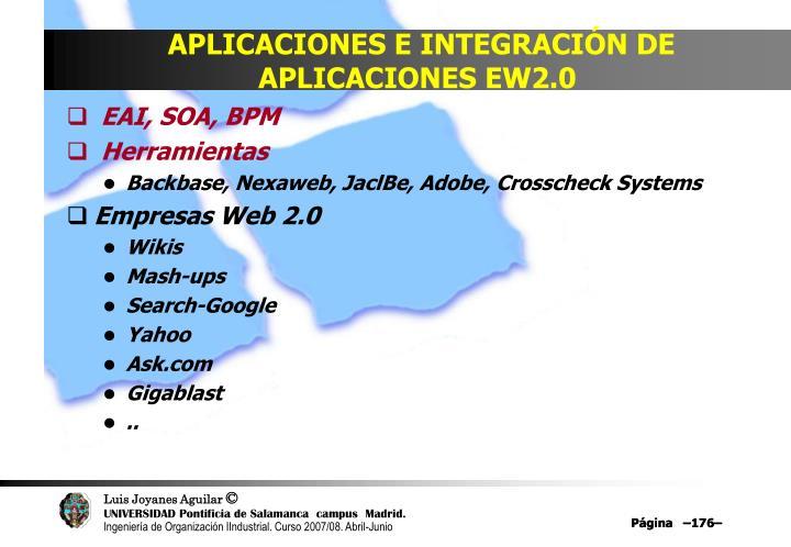 APLICACIONES E INTEGRACIÓN DE APLICACIONES EW2.0