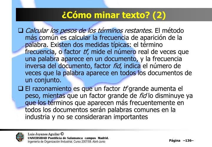 ¿Cómo minar texto? (2)